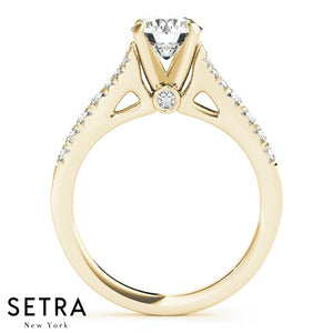OPEN SHANK DIAMOND ENGAGEMENT RING 14K GOLSD