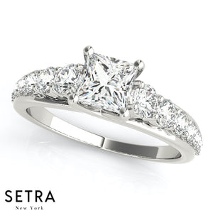 DIAMOND ENGAGEMENT RINGS SINGLE ROW PRONG SET TRELLIS