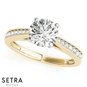 MATCHING SET OF PETITE DIAMOND ENGAGEMENT & BAND RINGS SINGLE ROW PRONG SET 14K GOLD