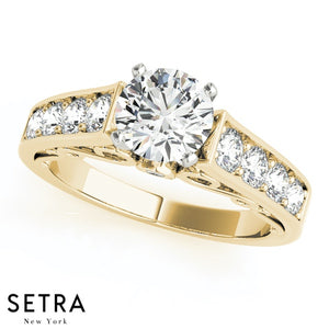 DIAMOND ENGAGEMENT RINGS SINGLE ROW 14K GOLD