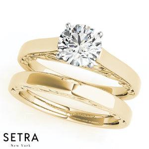SET OF SOLITAIRES ENGAGEMENT & BAND 14K GOLD RINGS