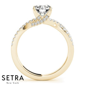 OPEN SHANK ROUND DIAMOND ENGAGEMENT RING 14K GOLD
