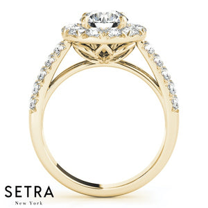 NEW BRIDAL HELO DIAMOND ENGAGEMENT DOUBLE SHANK RINGS 14K GOLD