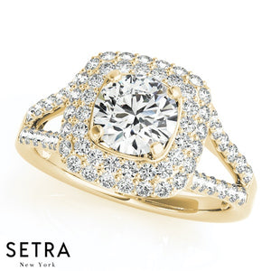 14K GOLD FINE DOUBLE ROW HALO SEMI-MOUNT SPLIT SHANK ENGAGEMENT ROUND CUT DIAMOND RING
