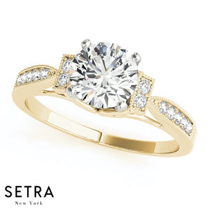 DIAMOND 14K GOLD ENGAGEMENT RINGS NEW BRIDAL SINGLE ROW PRONG SET