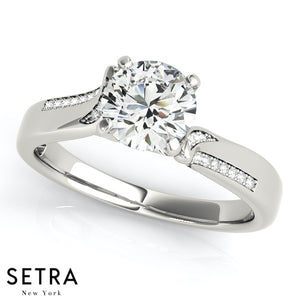 14K GOLD SOLITAIRE ENGAGEMENT BYPASS ROUND CUT DIAMOND RING