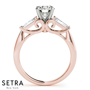 ENGAGEMENT RINGS FANCY SHAPE BAGUETTE REMOUNTS 14K ROSE GOLD