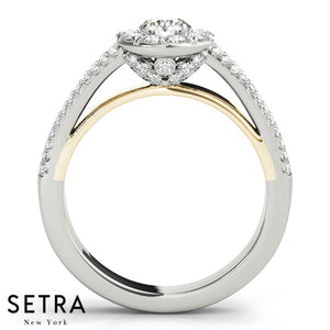 DIAMOND ENGAGEMENT RINGS HALO 14K GOLD