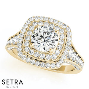 14K GOLD DOUBLE ROW HALO SEMI-MOUNT ENGAGEMENT ROUND CUT DIAMOND RING