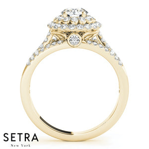 14K GOLD FINE HALO SEMI-MOUNT SPLIT SHANK ENGAGEMENT ROUND CUT DIAMOND RING