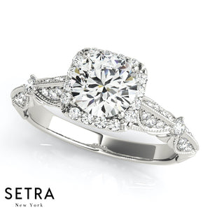 0.85Ct. BRILLIANT ROUND DIAMOND VINTAGE ACCENT ENGAGEMENT RING