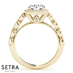 Petra Milgrain Cathedral Halo Engagement Ring with Bridge Accent