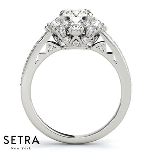 NEW BRIDAL HELO DIAMOND ENGAGEMENT RINGS 14K GOLD