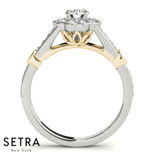 SET OF DIAMOND ENGAGEMENT & WEDDING BAND SPLIT SHANK RINGS 14K GOLD