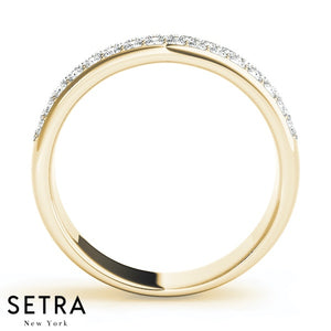3 Row Bead Setting Diamond Wedding Band 14 kt Gold