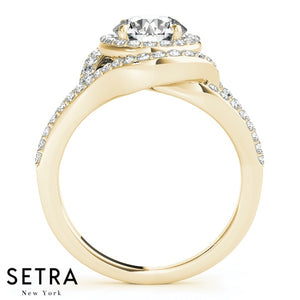 14K GOLD FINE DOUBLE HALO SEMI-MOUNT ENGAGEMENT ROUND CUT DIAMOND RING