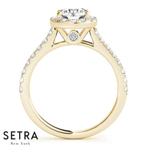 14K GOLD FINE HALO SEMI-MOUNT ENGAGEMENT ROUND CUT DIAMOND RING