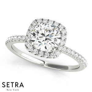 0.90 CARAT HALO DIAMOND ENGAGEMENT RING 14K