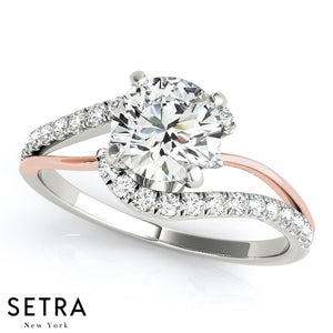 TWO TONE 14K FINE ROSE & WHITE GOLD OF ENGAGEMENT RINGS BYPASS