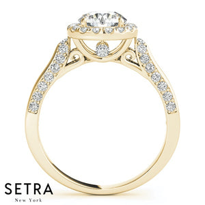 MATCHING SET OF DIAMOND ENGAGEMENT & BAND RINGS SINGLE ROW PRONG 14K GOLD