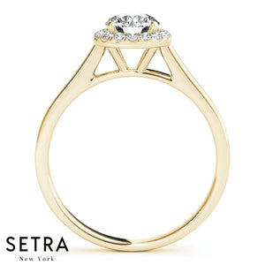 14K FINE GOLD DIAMOND IN ROUND HALO SEMI-MOUNT SET BAND & ENGAGEMENT RING