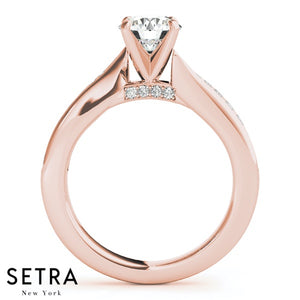 4- Prong Setting Matching Set Of Engagement & Wedding Band 14kt Gold Rings