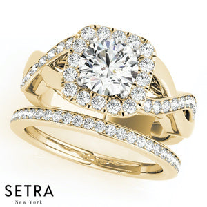 14K FINE GOLD ROUND CUT DIAMOND IN SQUARE HALO SEMI-MOUNT SPLIT SHANK ENGAGEMENT RING