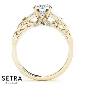 MATCHING SET OF DIAMOND ENGAGEMENT & WEDING BAND RING 14K GOLD