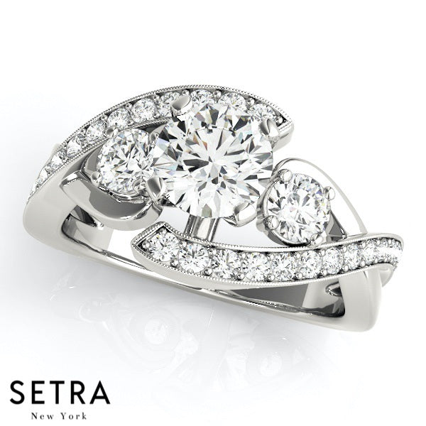 tone wedding of engagement stone three setra tow collections rings gold fine bypass e