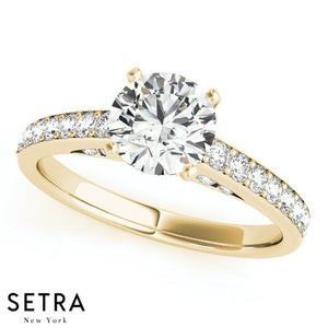 DIAMOND ENGAGEMENT RINGS & WEDDING BAND SINGLE ROW PRONG 14K GOLD