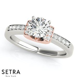 MATCHING SET OF DIAMOND ENGAGEMENT RING & WEDDING BAND 14K GOLD