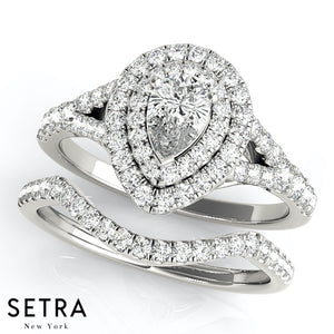 Double Halo Matching Set Of  Semi-Mount For Pear Shape  Diamond Engagement & Wedding Band 14kt Gold Rings
