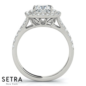 DIAMOND ENGAGEMENT RINGS HALO SQUARE CUSHION CU HALO