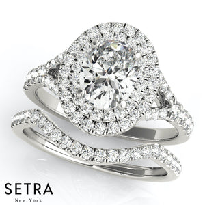 Double Halo Matching Set Of  Semi-Mount For Oval Cut Diamond Engagement & Wedding Band 14kt Gold Rings