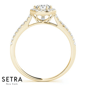 14K FINE GOLD ROUND CUT DIAMOND IN HEXAGON HALO SEMI-MOUNT ENGAGEMENT RING