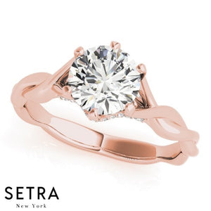 1/2ct TWISTED CLASSIC DIAMOND ENGAGEMENT 14kt FINE ROSE GOLD