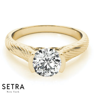 SOLITAIRE ROUND CUT DIAMOND ENGAGEMENT RINGS 14K GOLD