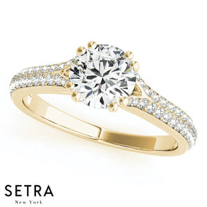 MICRO PAVE SETTING DIAMOND ENGAGEMENT 14K GOLD RING