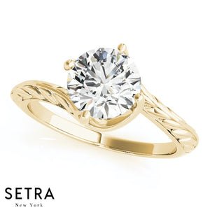 CERTIFIED GIA VINTAGE SET OF SOLITAIRE DIAMOND ENGAGEMENT RINGS 14K GOLD