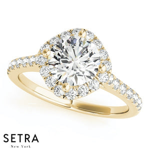 14K FINE GOLD ROUND CUT DIAMONDS ENGAGEMENT RINGS