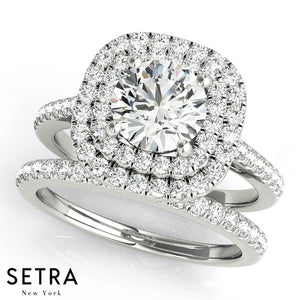 0.75 CT ROUND CUT DIAMONDS ENGAGEMENT DOUBLE 2 ROW HALO RING 14K GOLD