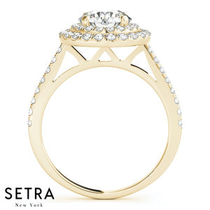 14K FINE GOLD ROUND CUT DIAMONDS DOUBLE HALO ENGAGEMENT RINGS