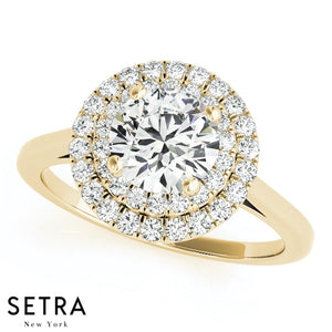 MATCHING ROUND CUT DIAMOND ENGAGEMENT DOUBLE ROW HALO 14K RING