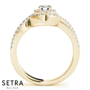 14K FINE GOLD ROUND CUT DIAMONDS WITH OPEN SHANK ENGAGEMENT RING