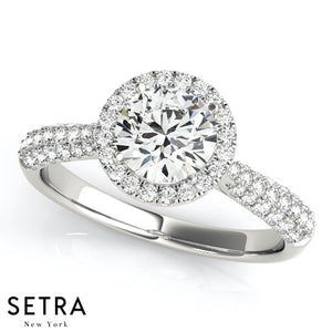 MICRO PAVE SETTING DIAMOND ENGAGEMENT MULTIROW ROUND HALO 14K GOLD RING