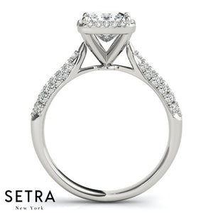 ENGAGEMENT RINGS HALO SQUARE CUSHION MULTIROW