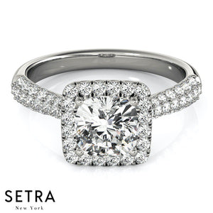 MICRO PAVE SETTING DIAMOND ENGAGEMENT RINGS HALO SQUARE CUSHION MULTIROW