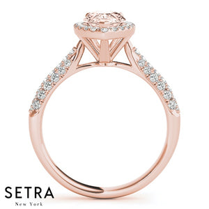 Morganite Engagement Ring Rose Gold Pear Cut Ring Wedding Bridal Diamond Half Eternity Anniversary Halo Micro-Pave Set Promise Ring Gift For Women