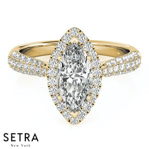 PLATINUM MICRO PAVE SETTING ENGAGEMENT RINGS HALO MARQUISE MULTIROW