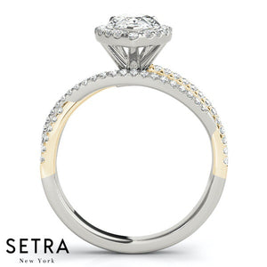 DIAMOND ENGAGEMENT SPLIT RING 14kt GOLD